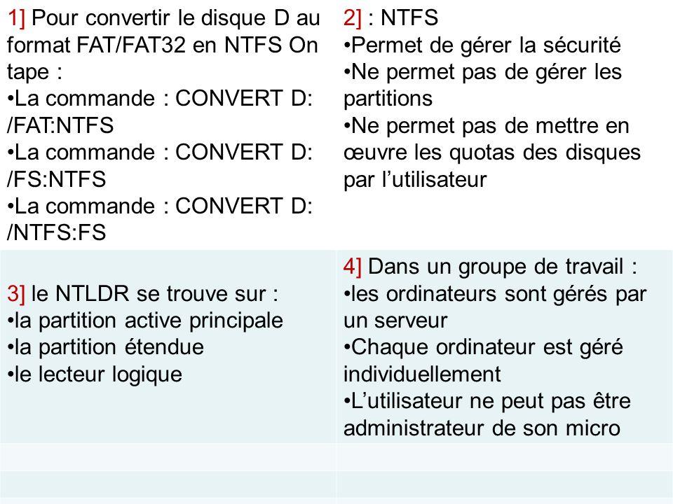 1] Pour convertir le disque D au format FAT/FAT32 en NTFS On tape :